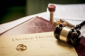 Divorce Decree, Rings and Gavel